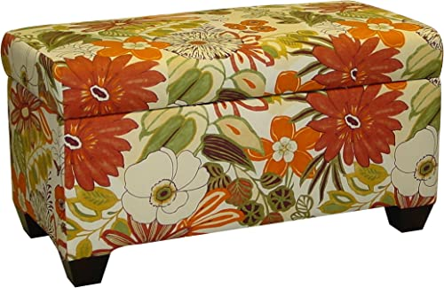 Skyline Furniture Walnut Hill Storage Bench in Lilith Marigold Fabric