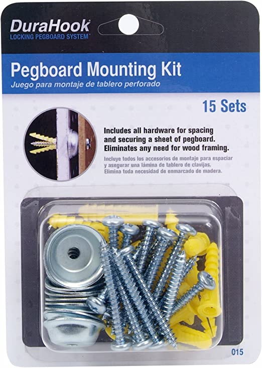 Fixing Kit Pack of 6 BLACK Spacer Pegboard Hanging