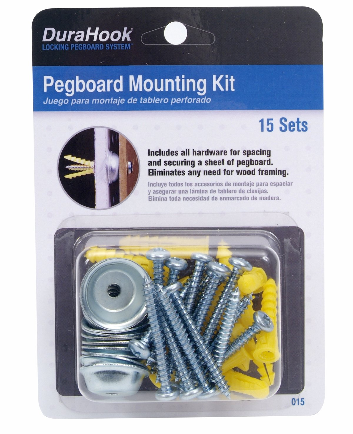 Steel/Plastic Pegboard Mounting & Spacer Kit for DuraBoard or 1/8 In. and 1/4 In. Pegboard, 15 Sets