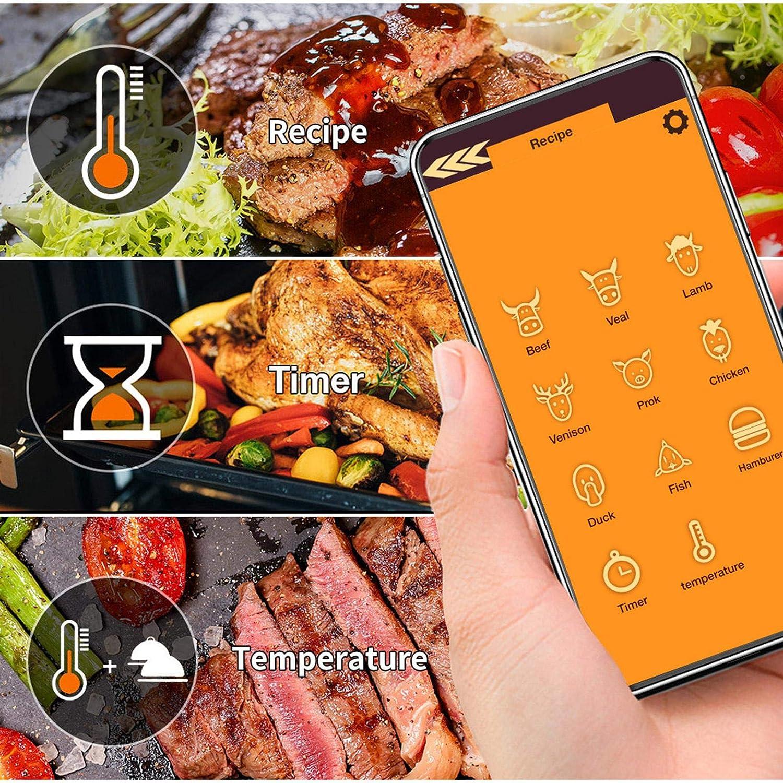 grigliate Termometro per carne termometro wireless per carne per barbecue affumicatore termometro da forno con Bluetooth