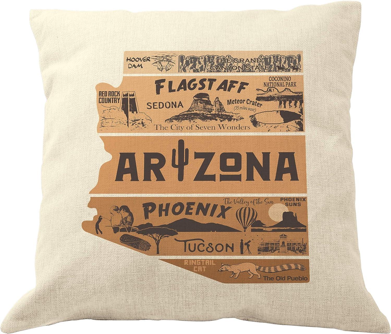 DrupsCo 18x18 Arizona Pillow Cover - Arizona Throw Pillow Case, Arizona Home Decor Pillow