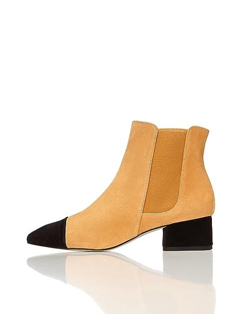 01e45681808 FIND Botines con Puntera y Tacón en Contraste para Mujer  Amazon.es   Zapatos y complementos