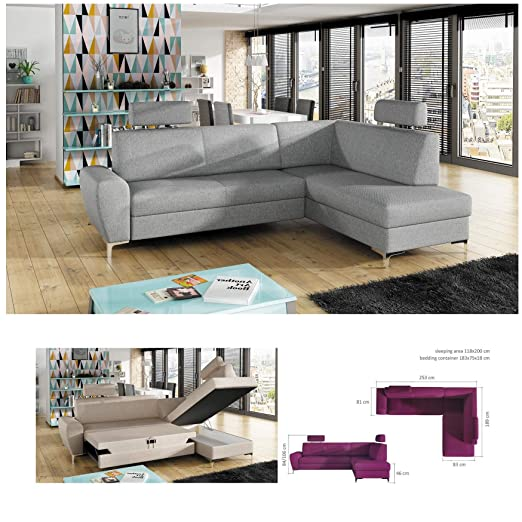 BMF Rino Gris pequeño Tela o Piel sintética Esquina sofá ...