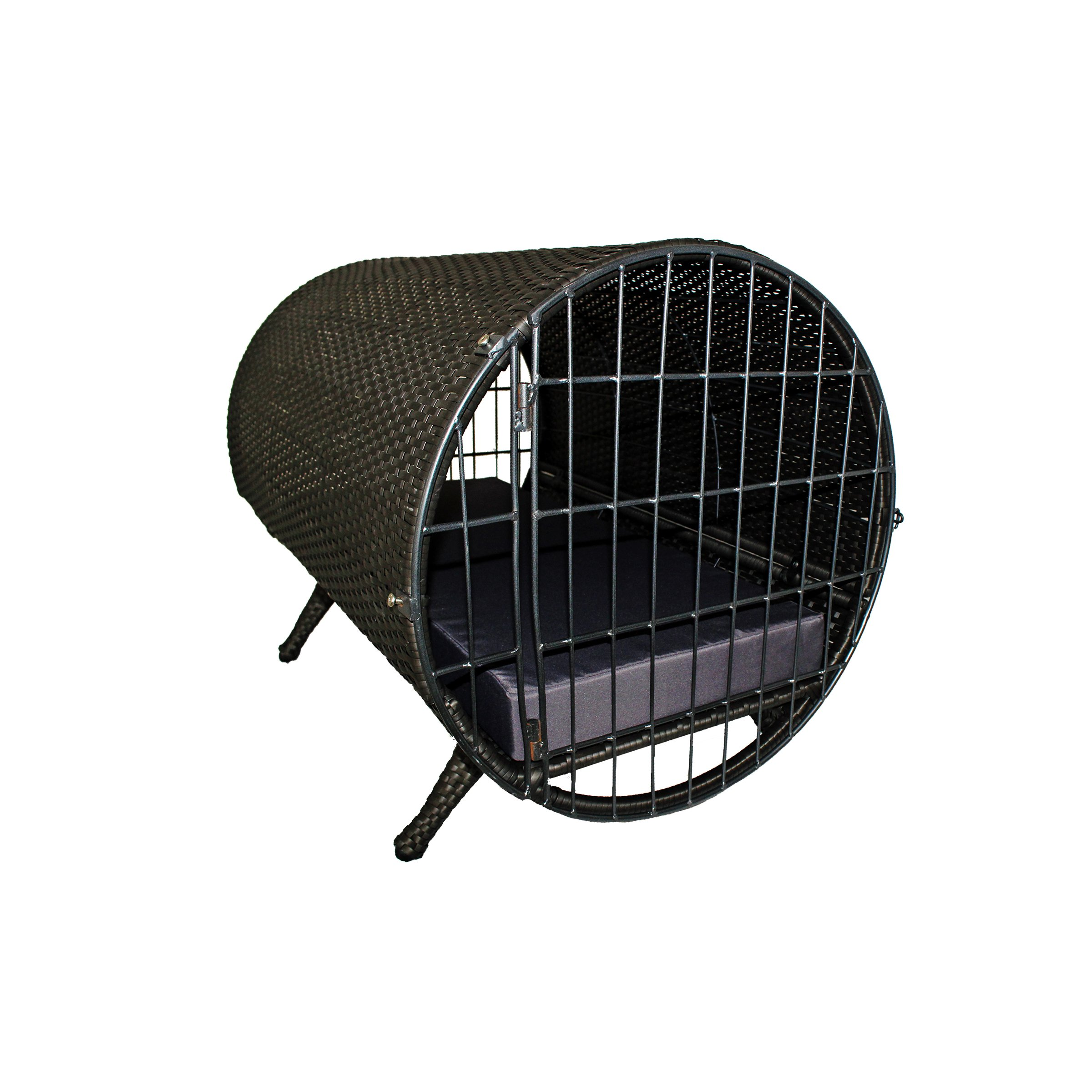 Iconic Pet - rattan Cylinder Pet Cage, Brown/Grey