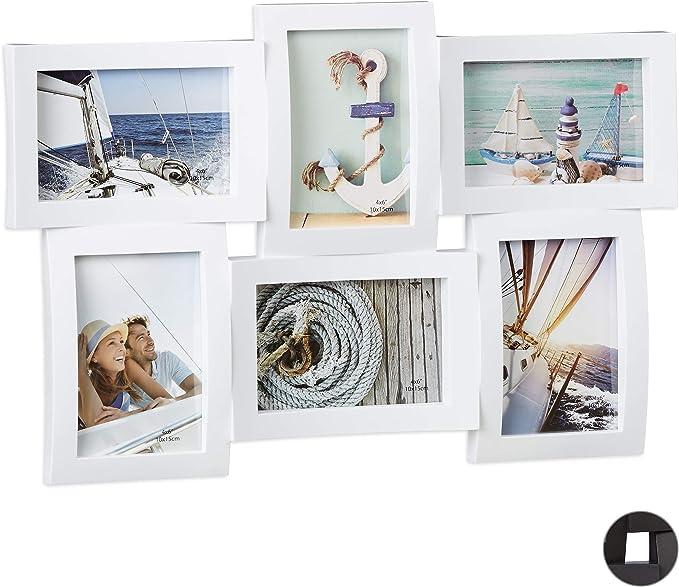 Relaxdays Marco de Fotos Multiple 6 para Pared, Plástico, Blanco, 33 x 47.5 x 3 cm: Amazon.es: Hogar