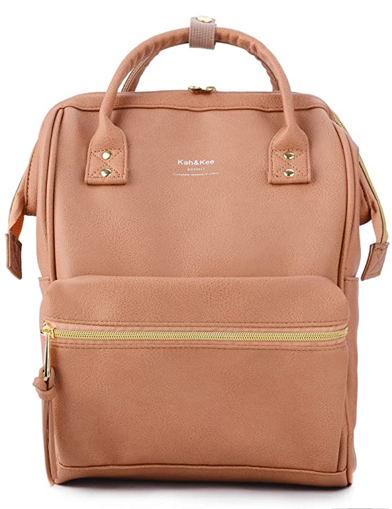 The Large Faux Leather Laptop Backpack in Tan Pink travel product recommended by Sara Skirboll on Lifney.