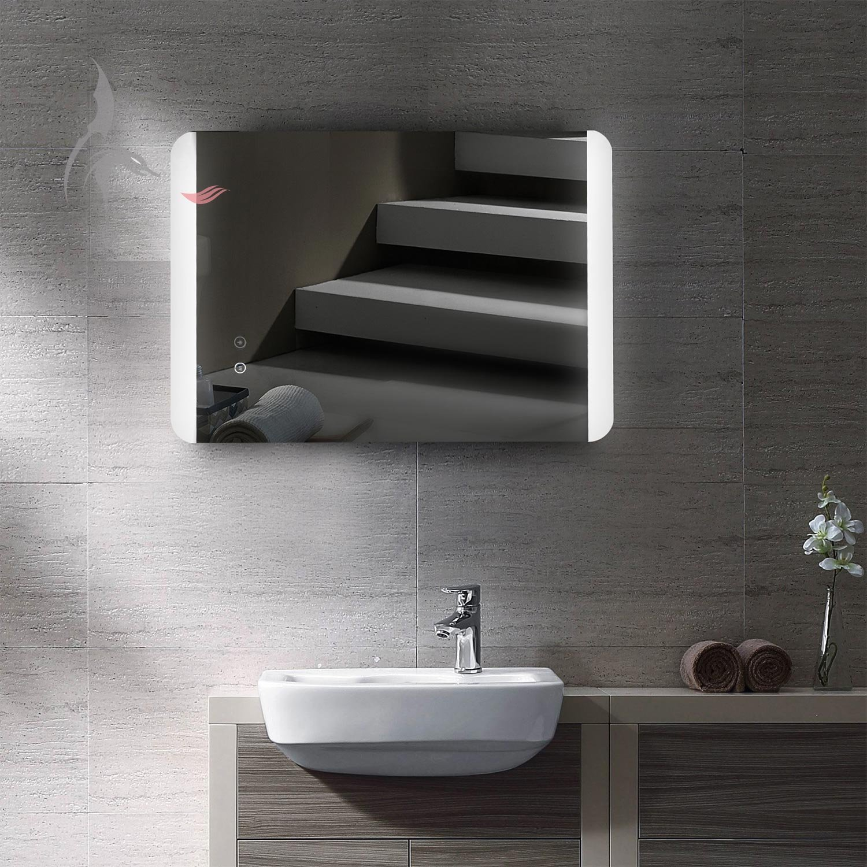Miroir de salle de bain lumineux à LED avec chauffage électrique intégré anti-buée - 50 x 70 cm - montage horizontal