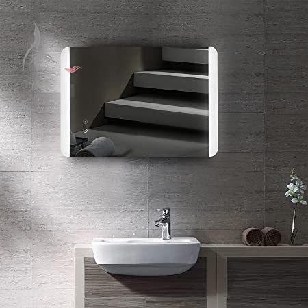 Led illuminated bathroom mirror with integrated anti fog mirror led illuminated bathroom mirror with integrated anti fog mirror heating food 50 x 70 cm aloadofball Image collections
