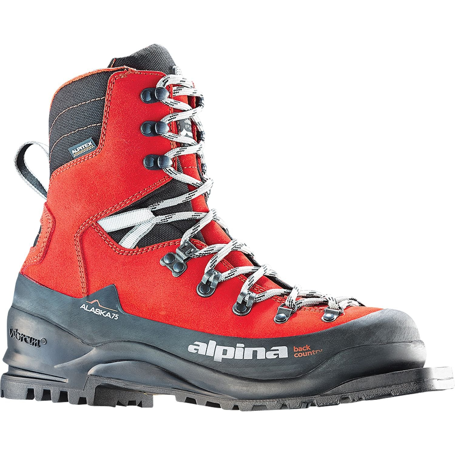Alpina Sports Alaska 75 Leather 3 Pin 75 mm Backcountry Cross Country Nordic Ski Boots, Euro 38, Red/Black by Alpina