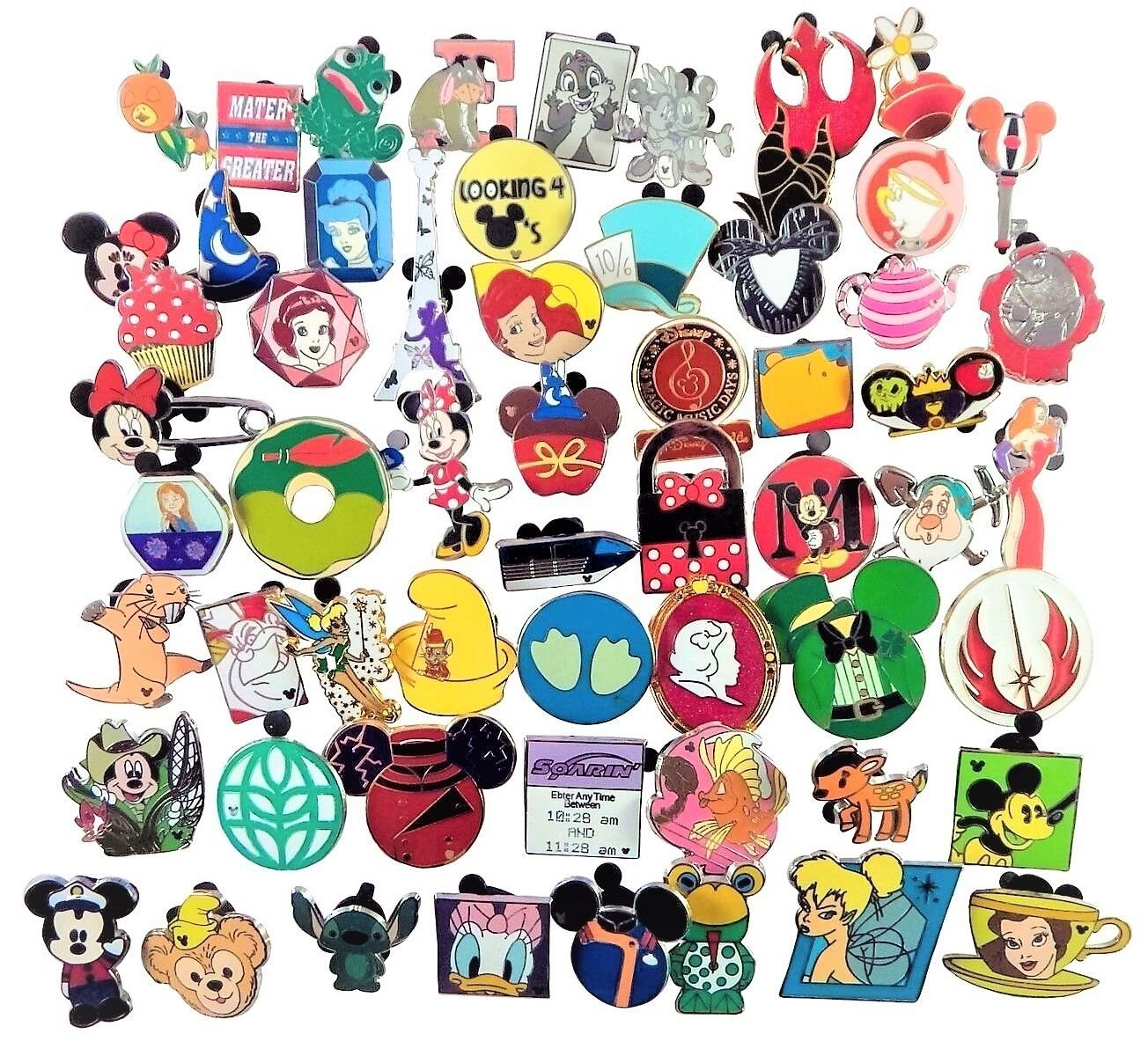 New Disney Metal and Stamped Pin Trading 100 Assorted Pin Lot - Brand New Pins - No Doubles - Tradable-by NANSY USA Seller by Unknown