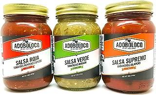 product image for Adoboloco Salsa 3 PACK - SALSA ROJA MILD, SALSA VERDE (Tomatillo/Avocado) MED-HOT & SALSA SUPREMO VERY HOT (48oz)