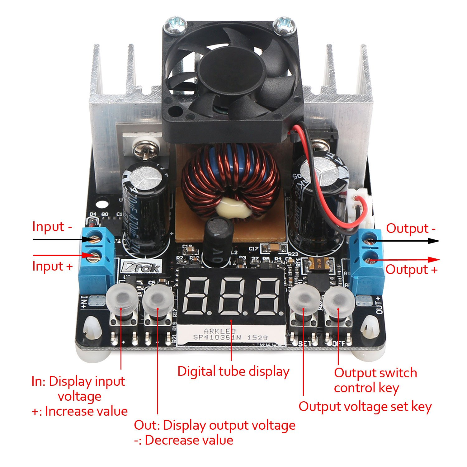 Drok Dc 12v 24v Nc Step Down Voltage Regulator 8a Simple Reversepolarityprotection Circuit Has No Drop Figure Numerical Control Buck Converter With Heatsink Fan 6 40v To 0 38v Adjustable Digital Voltmeter