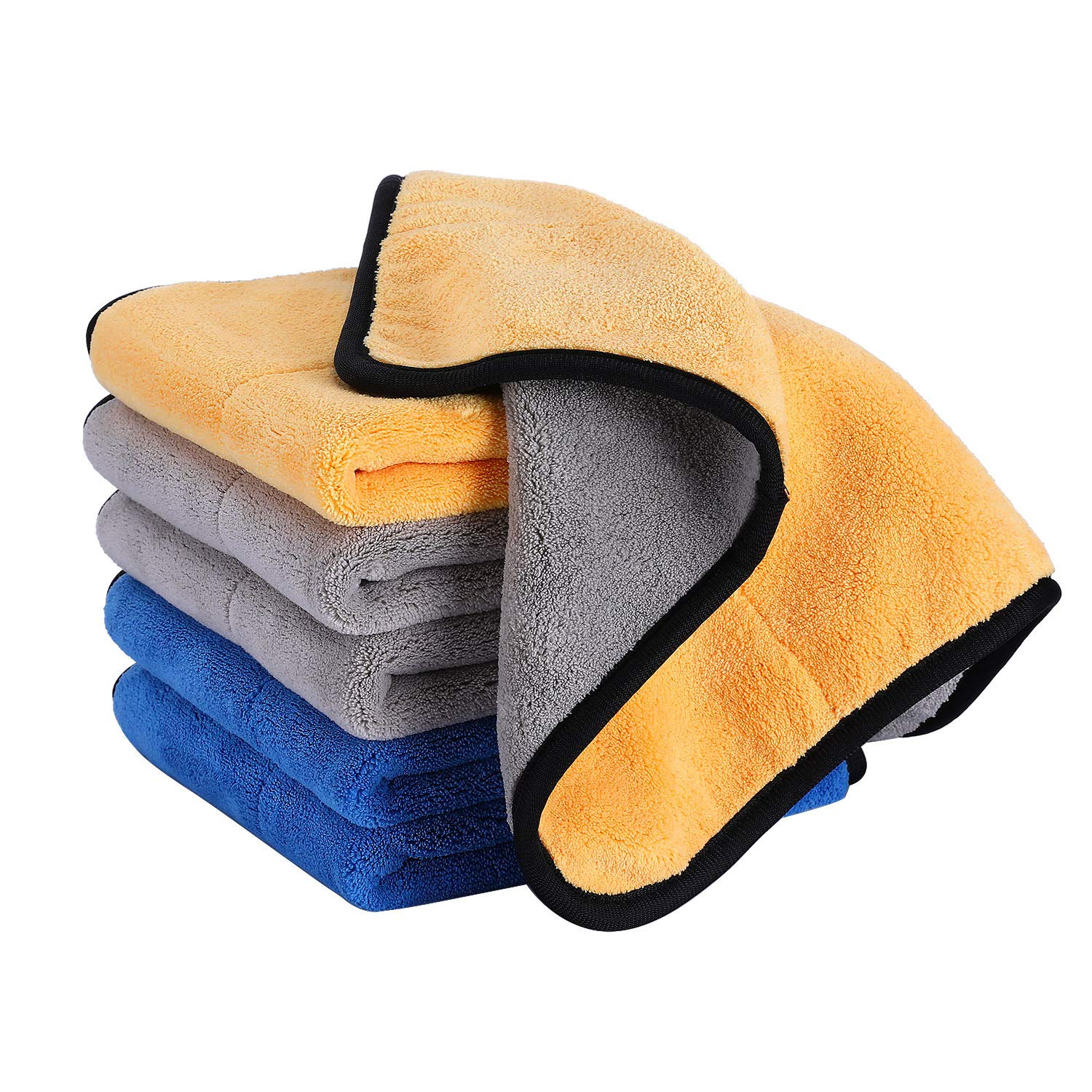 3 Pack Super Absorbent Lint Free Dual Layer Microfiber Cleaning Cloths 14.5x14.5 HOUSE AGAIN Ultra-Thick Car Microfiber Cleaning Towels Silk Edging Car Wash Waxing Polishing and Drying Towels