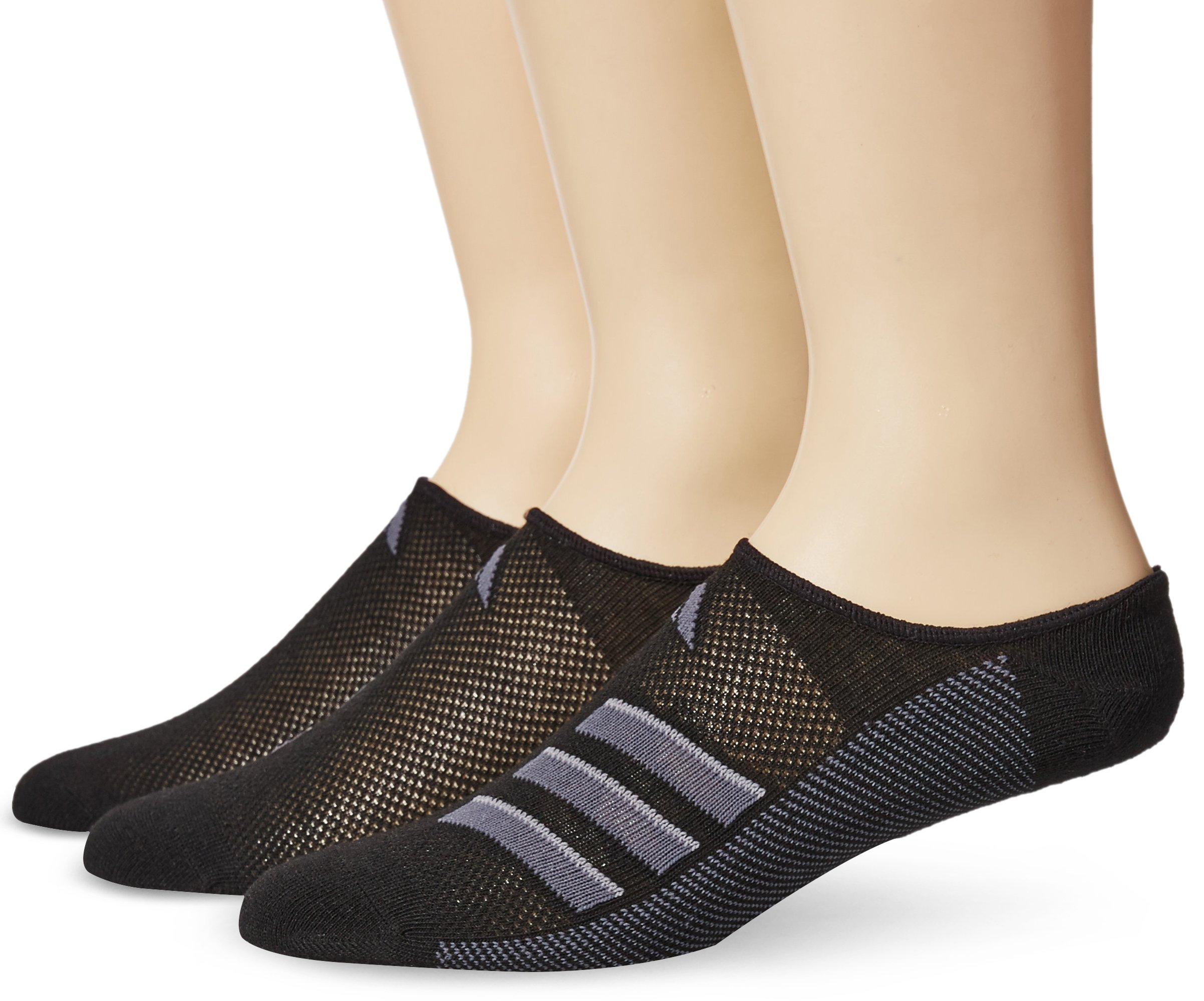 adidas Men's Climacool Superlite Super No Show Socks (3-Pack), Black/Onix/Light Onix, Size 6-12