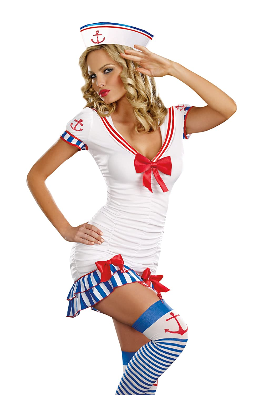 sc 1 st  Amazon.com & Amazon.com: Dreamgirl Womenu0027s Sailor Pin-Up Costume: Clothing