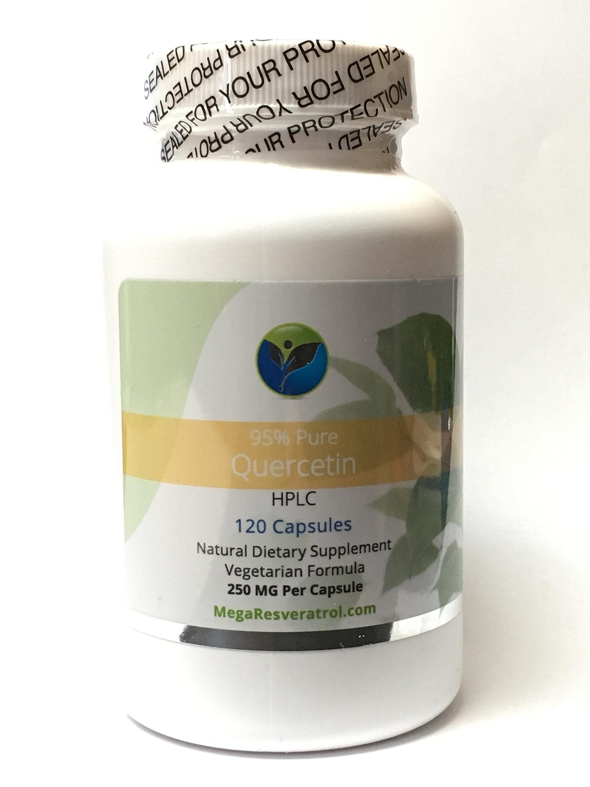 Quercetin 95% Pure, 250 Mg Vegetarian Capsules. NO Excipients Added (AKA ''Inactive Ingredients'').
