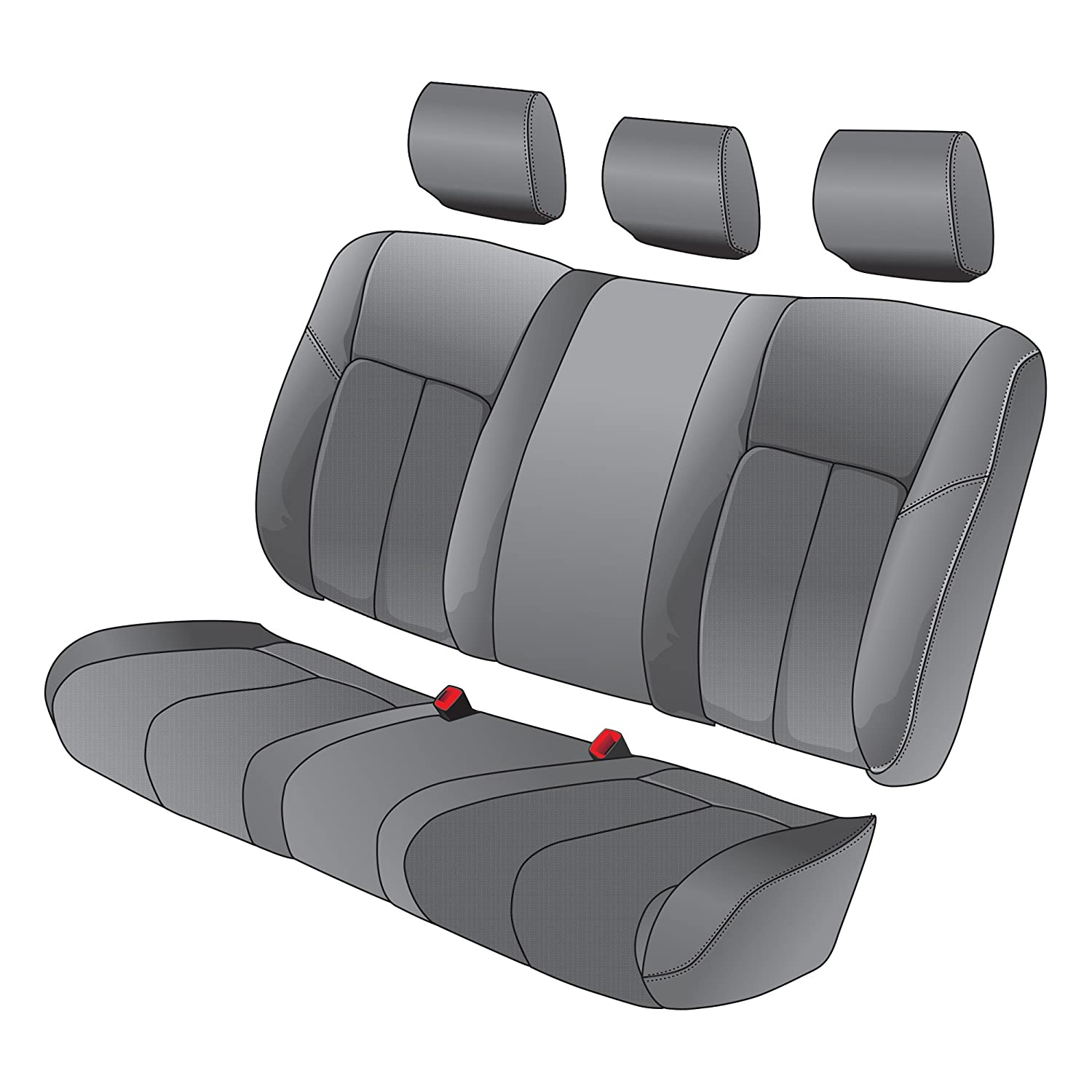 Clazzio 315012gry Grey Leather Front and Rear Row Seat Cover for Honda Civic 2 Door DX//LX