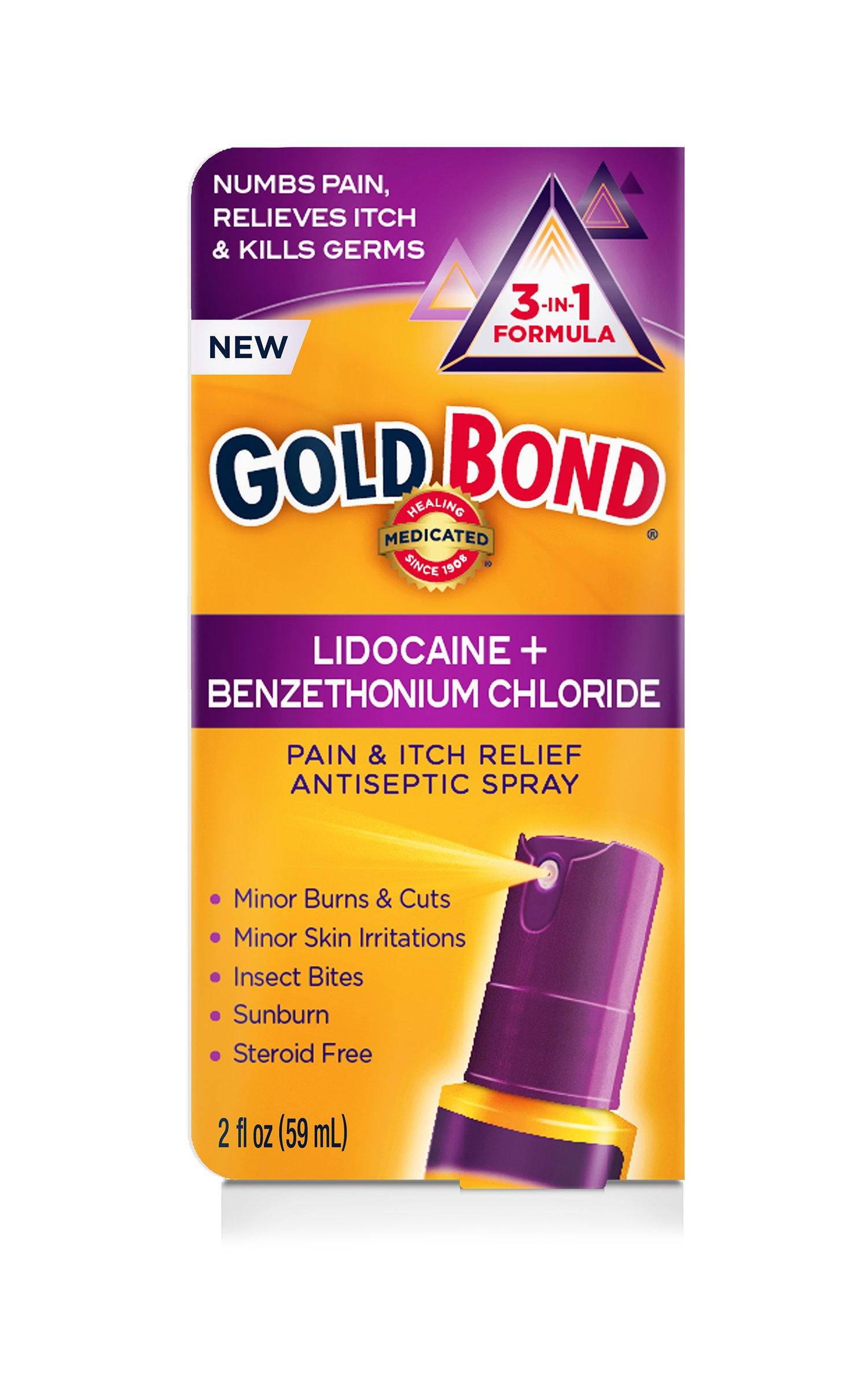 Gold Bond Pain & Itch Relief Antiseptic Spray with 4% Lidocaine, 2 Ounce Spray Bottle (Pack of 2) by Gold Bond