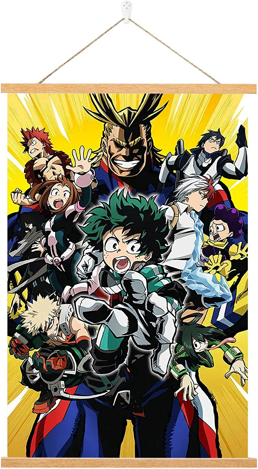 My Hero Academia Poster - Anime Wall Scroll Poster - Hd Canvas Hanging Paintings Wall Art Decor,with 16Inch Powerful Magnet Wood Poster Hanger and Seamless Hook.(16 x 24in)