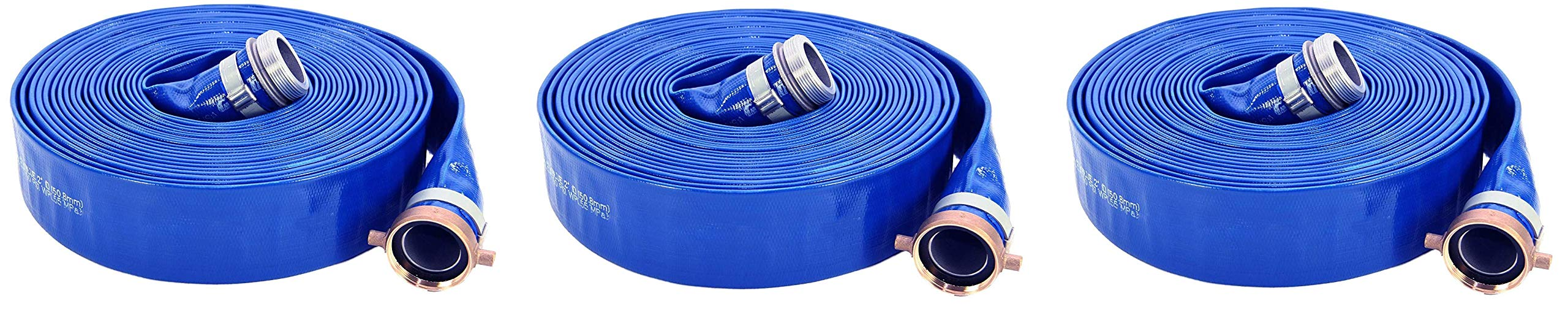 Abbott Rubber PVC Discharge Hose Assembly, Blue, 2'' Male X Female NPSM, 65 psi Max Pressure, 50' Length, 2'' ID (3, 1) by Abbott Rubber