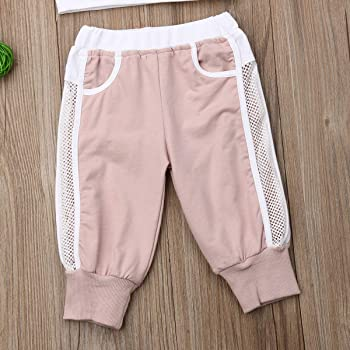 Muasaaluxi Toddler Kid Baby Girls Short Sleeve T-Shirt Tops Leopard Pants Leggings Tracksuit Summer Outfits 1-5Y
