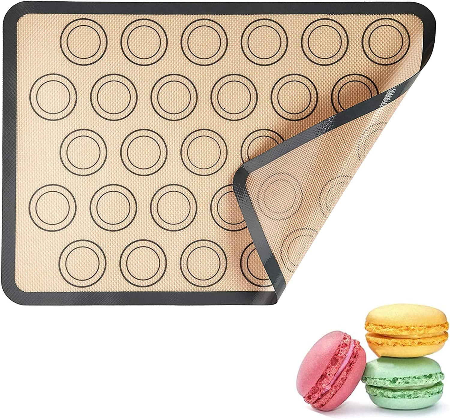 Carperipher Silicone Baking Mat, 11.6x16.5 Inches Non-Stick, Food Grade Macaron Silicone Baking Mats, Reusable Oven Sheet Liner Baking Mat for Macarons, Pastry, Bread, Cookie, Pizza Making