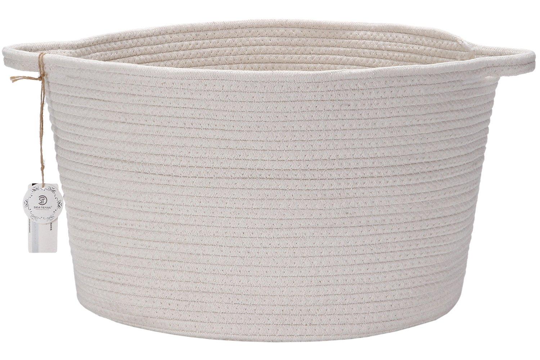 "Sea Team 15""D x 10""H Natural Cotton Thread Woven Rope Flat Storage Basket Bin Hamper with Handles for Nursery Kid's Room Storage (Flat, Ivory)"