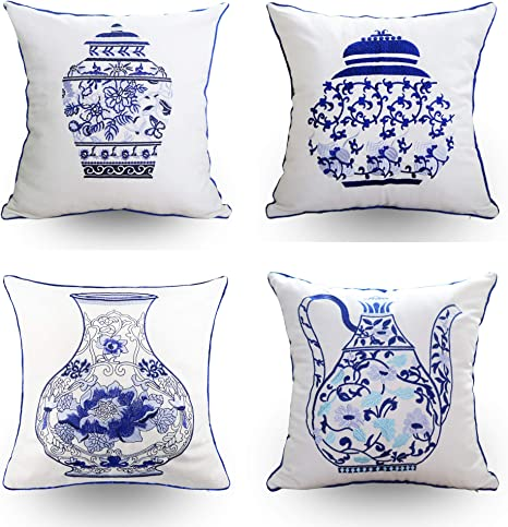 hodeco embroidery throw pillow covers 18x18 inches decorative floor pillows cover for couch 100 cotton cushion cover throw pillow case chinese blue