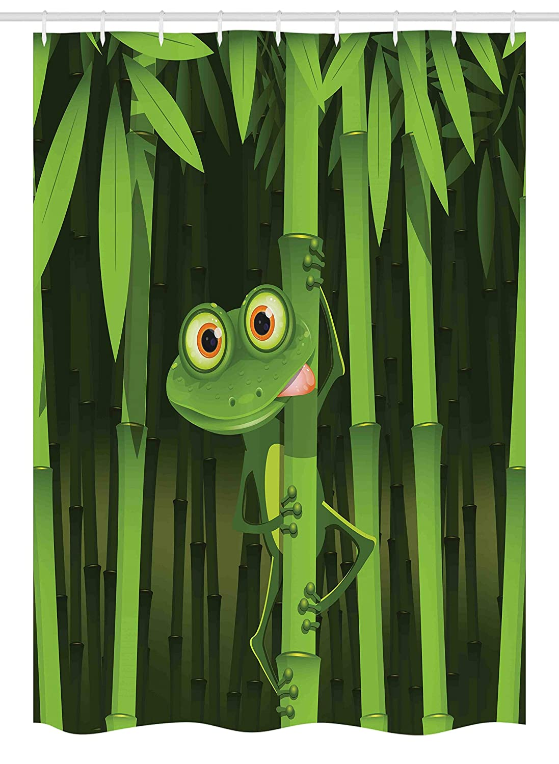 Ambesonne Animal Stall Shower Curtain, Funny Illustration of Friendly Fun Frog on Stem of The Bamboo Jungle Trees Cute Nature, Fabric Bathroom Decor Set with Hooks, 54 W x 78 L Inches, Green