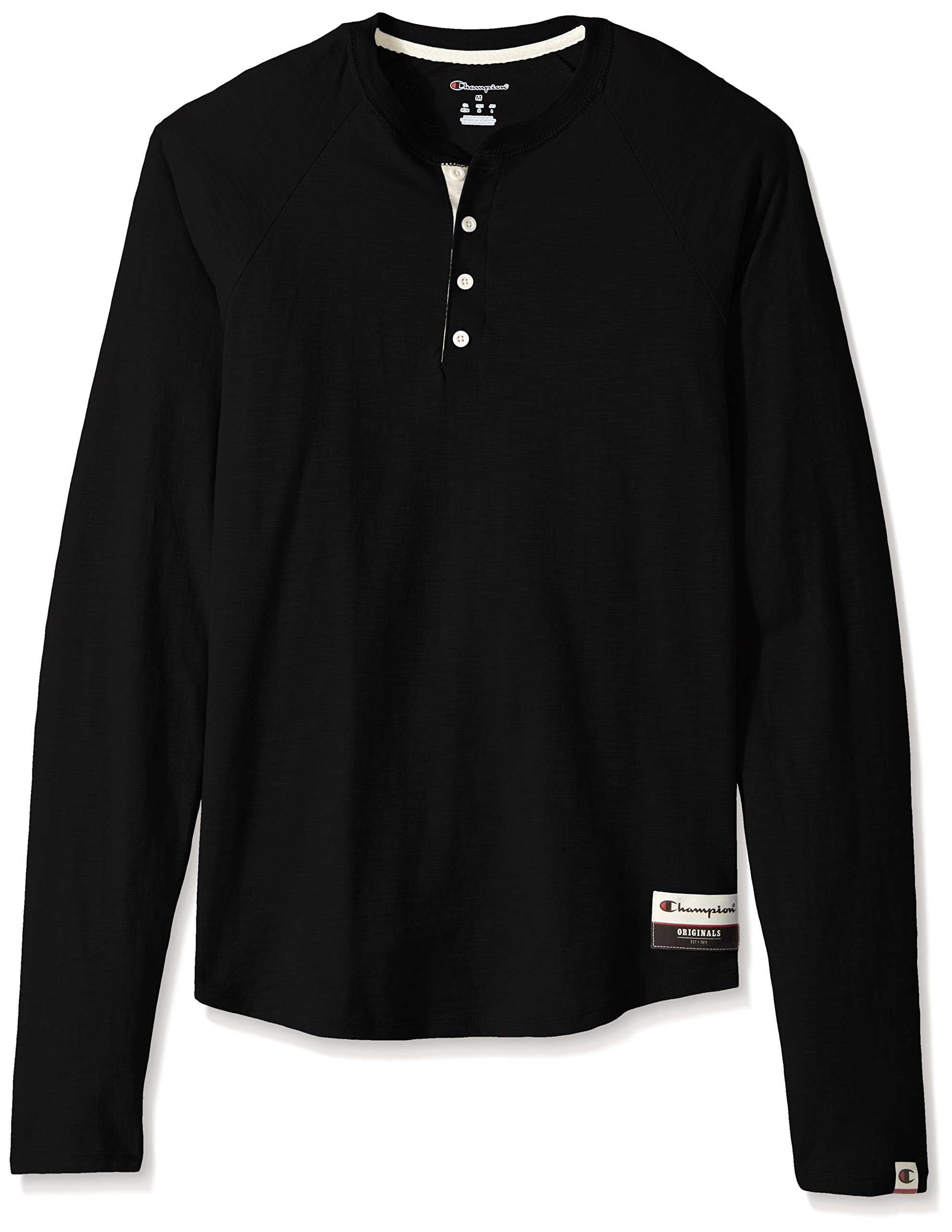Champion Men's Authentic Originals Long Sleeve Henley, Black, X-Large