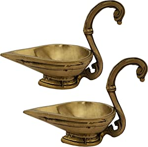 Indian Diwali Oil Lamp Pooja Diya Brass Light Puja Decorations Mandir Decoration Items Handmade Home Backdrop Decor Lamps Made in India Decorative Wicks Diyas Long Handle Design Deepam Pair - Golden