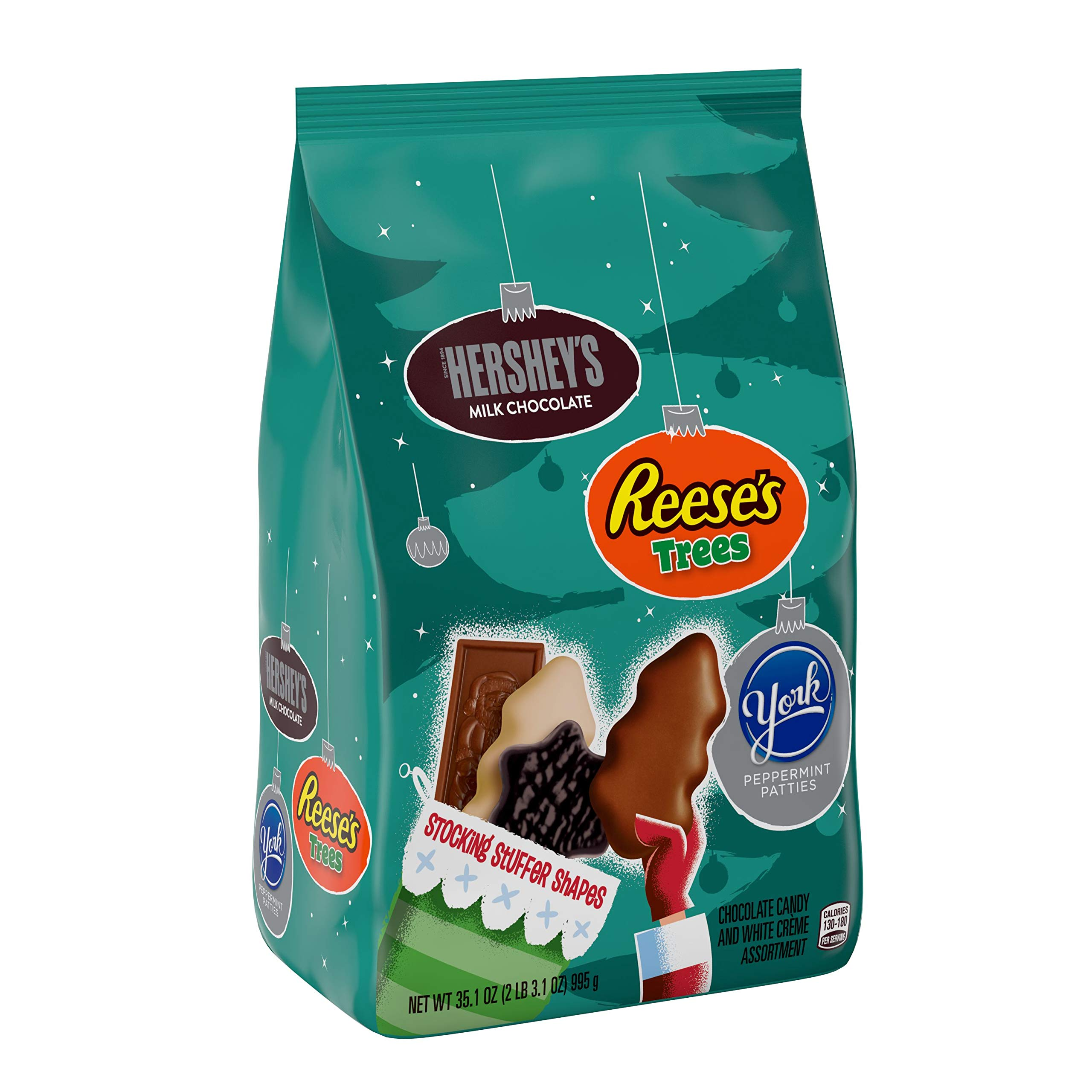 HERSHEY'S Holiday Candy, Holiday Shapes Assortment (Milk Chocolate Santas, REESE'S Trees, YORK Snowflakes) 35.1 oz.