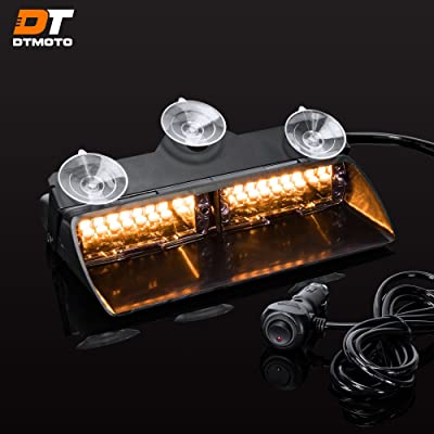 "9"" 16W Amber LED Flashing Warning Strobe Dash Light for Truck Security Vehicles - Interior Emergency Lights For Windshield w/Suction Cup: Automotive"