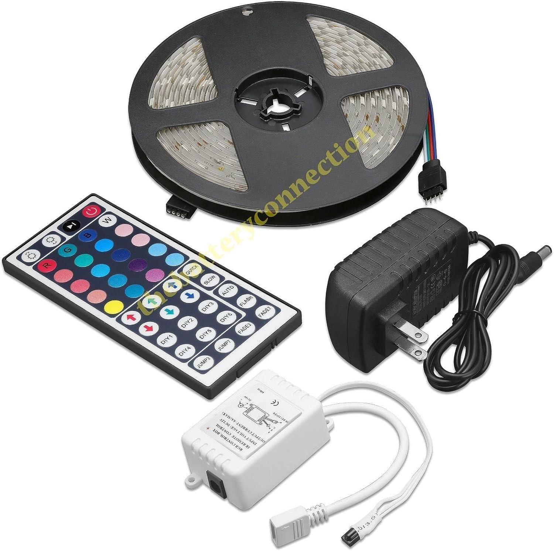 5M Rgb Smd 3528 Waterproof Led Strip Light 44 Key Remote Us Power Full Kit Dc12V