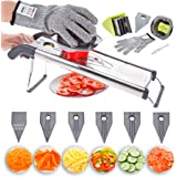 Stainless Steel Mandoline Vegetable V Blade Slicer, Julienne, Food Grater, Cutter, Shredder. Best for Onion, Potato and Fruit. Professional Kitchen Grater, Cutter, incl 6 Inserts, Safety Glove, Brush