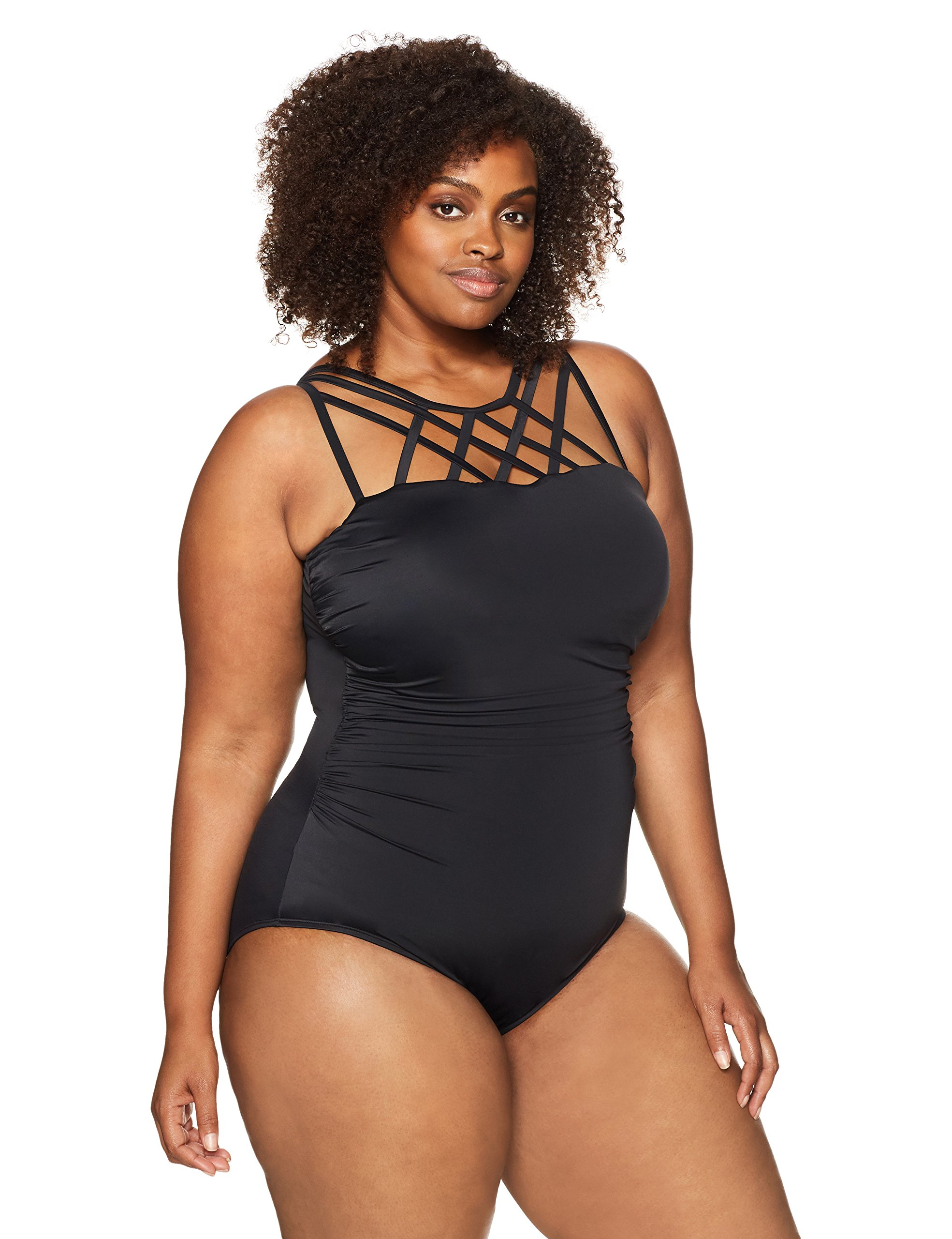 Coastal Blue Women's Plus Size Control Swimwear Top Strap Detail One Piece Swimsuit, Black, 2X (20W-22W)