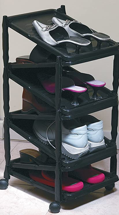 a shoe rack shoe organizer vertical and foldable on wheels - Vertical Shoe Rack