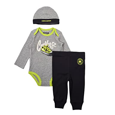 a26f399fc Converse Sneaker Long Sleeve Creeper 3 Piece Set Vintage Grey Heather 9/12  months: Amazon.co.uk: Clothing