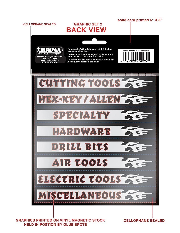 Chroma Graphics 9025 Magnetix Black//Red//Silver 6 x 8 Toolbox Identification Label Kit