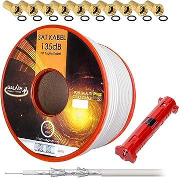 HB-DIGITAL Cable de antena coaxial satelital de cobre puro 135 Db Hb Digital Uhd 4 K con herramienta de extracción y conector F 10X (chapado en oro) ...