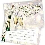 With envelopes Golden wedding invitations golden fancy edge design pack of 16