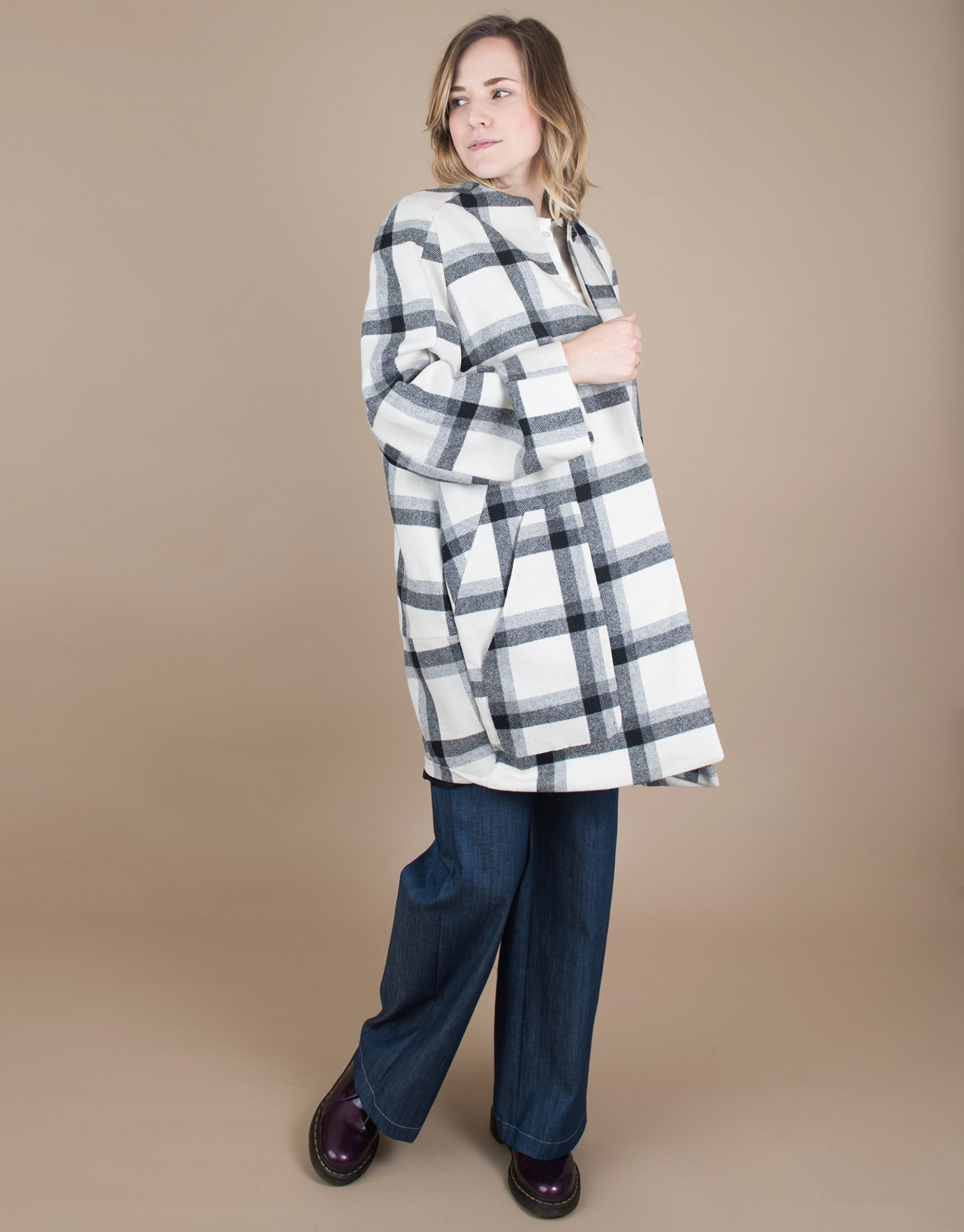 Long Sleeve Black and White Plaid Wool Coat