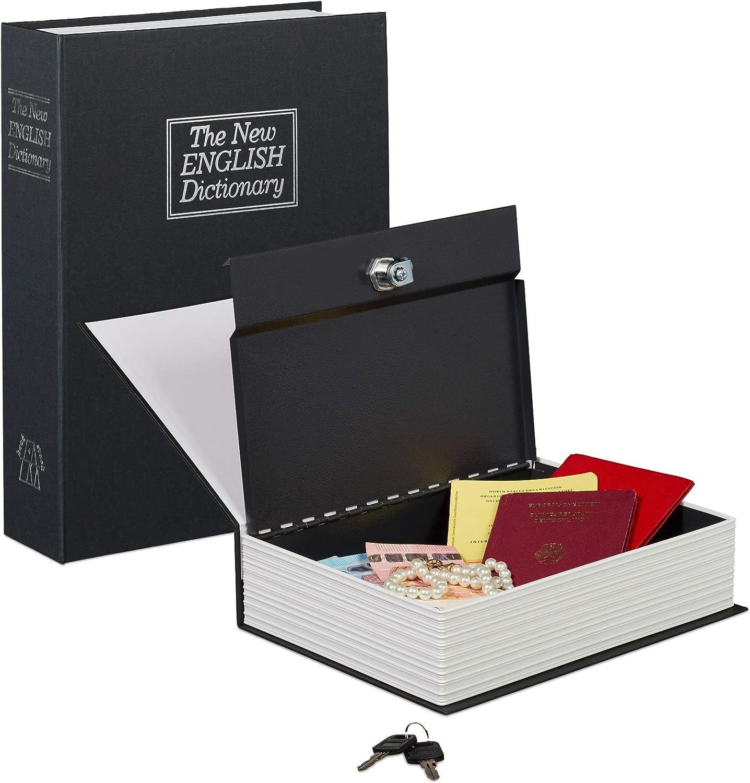 Relaxdays 10020800_46 Caja Fuerte Libro con Candado, Negro, 27x20x6.5 cm: Amazon.es: Bricolaje y herramientas