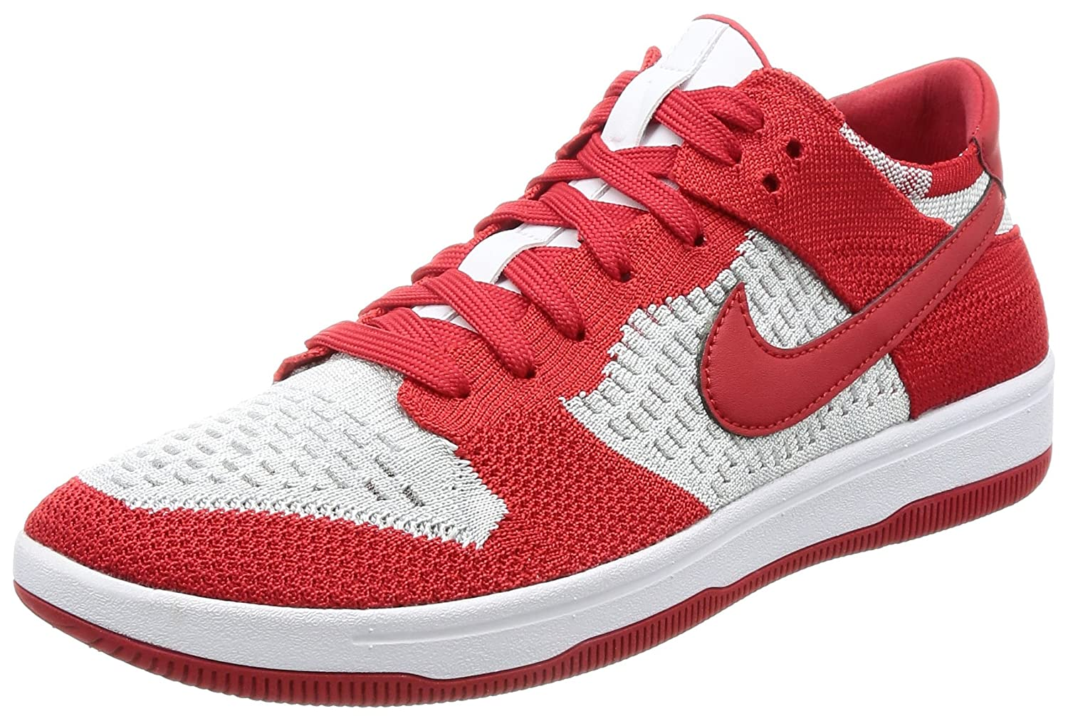 NIKE Men's Dunk Flyknit Ankle-High Basketball Shoe B0723BD61H 8.5 D(M) US|University Red/White-Wolf Grey