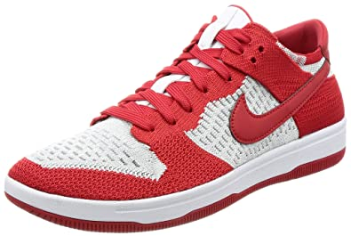 more photos 9c45e 22a3a Nike Men s Dunk Flyknit University Red White-Wolf Grey Ankle-High Basketball  Shoe