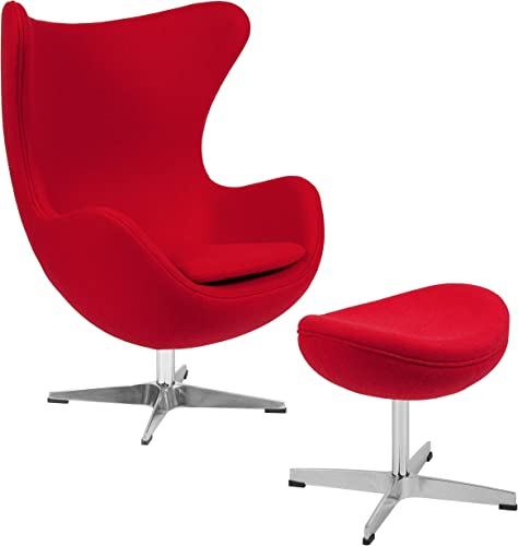 Flash Furniture Red Wool Fabric Egg Chair with Tilt-Lock Mechanism and Ottoman