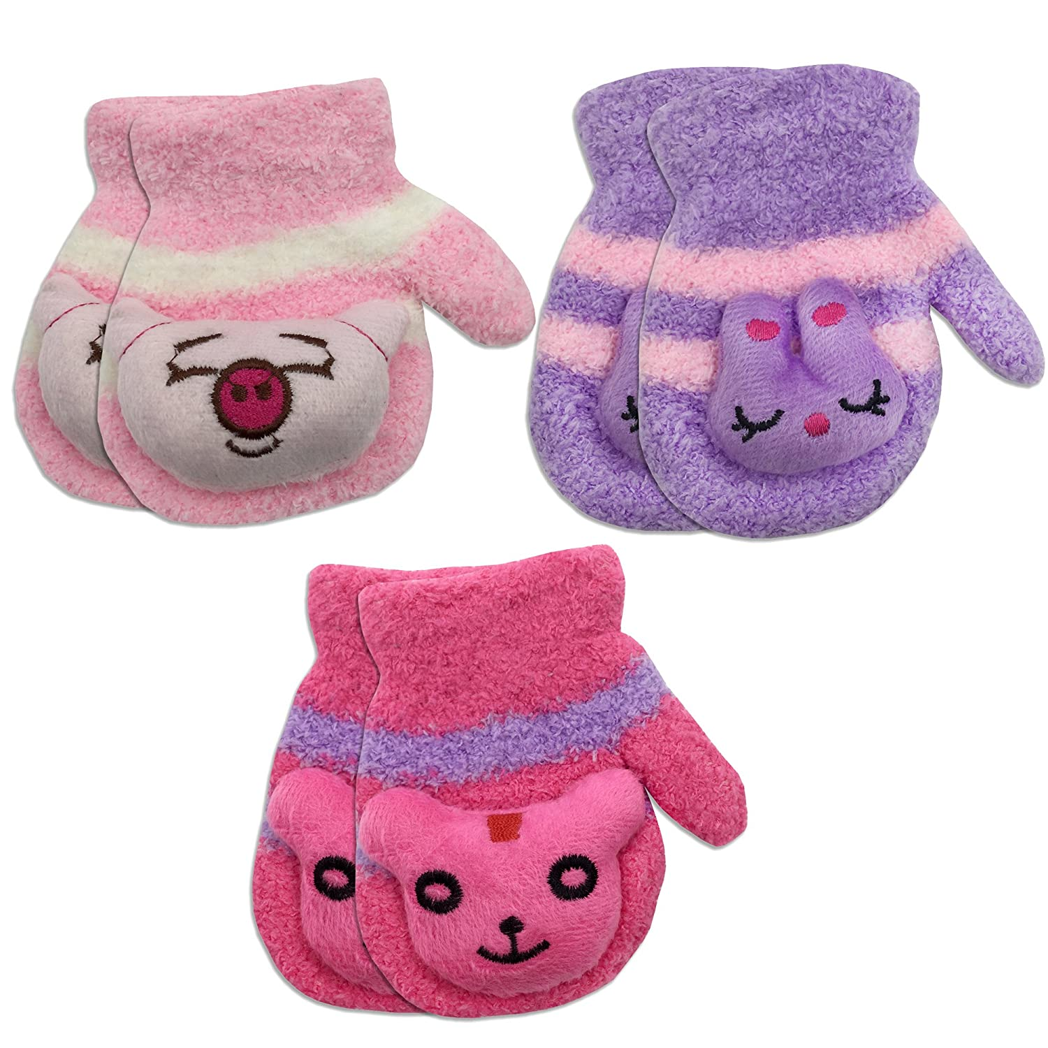 3 Pair Pack Toddler Baby Girls Warm Winter Mittens Gloves - Cute Fuzzy (Ages 1-3) 4521MP-RED-PNK-PUR-GIRLS-3PK