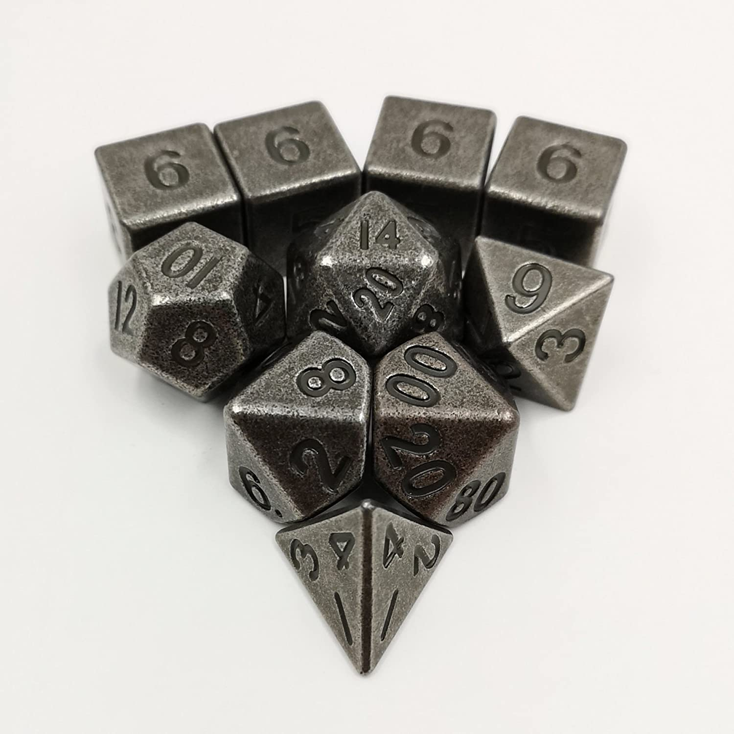 Ancient Metal Dice Satz Standard 7 + 3D6'S für Roleplaying Games