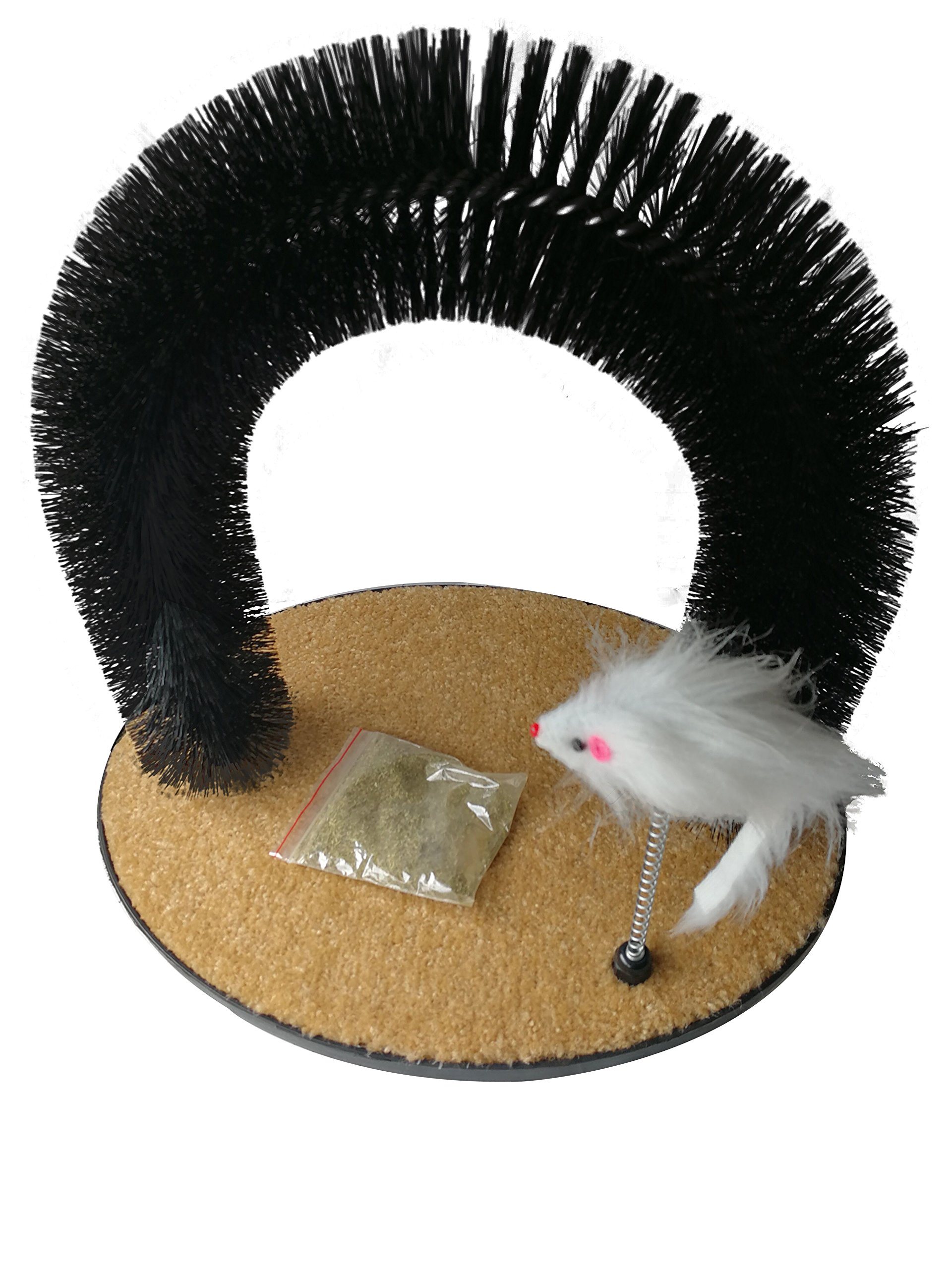 ALEKO CPAR32 Self Grooming Cat Massage Arch with Scratching Pad and Mouse Toy