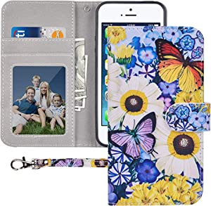 iPhone SE / 5S / 5 Wallet Case,MagicSky iPhone SE/5S/5 Case Premium PU Leather Flip Folio Case Cover with Wrist Strap,Card Holder,Cash Pocket,Kickstand for Apple iPhone 5S/5/SE,Butterfly Over Flowers